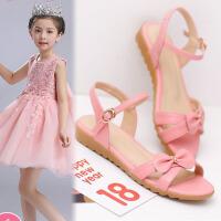 韩版女童凉鞋夏季新款真皮防滑甜美蝴蝶结中小学生平底大童鞋