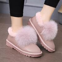 17秋冬季女孩加绒棉鞋12中学生短靴子13大童加棉雪地靴15岁16女靴