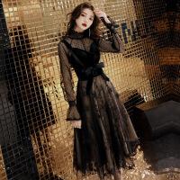 №【2019新款】冬天穿的晚礼服裙女黑色派对洋装小礼服晚宴会聚会高贵连衣裙显瘦