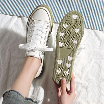 帆布鞋 女士网红低帮爱心布鞋2019秋季新款韩版时尚女式休闲百搭透气休闲鞋女鞋子