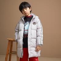 【清�}�r:375】米喜迪mecity童�b冬新款男童拼接滑雪�N�诉B帽�L款羽�q服