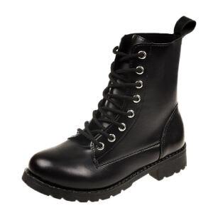 WARORWAR新品YM6-a-66冬季日系磨砂反绒低跟舒适系带女士靴子马丁靴短靴