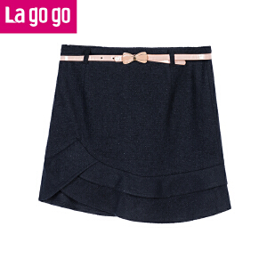 Lagogo冬季纯色不规则毛呢高腰半身裙女士裙子含羊毛厚短款裙子