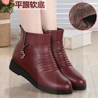 ����鞋棉鞋女秋冬季中年真皮�底短靴平底皮鞋加�q保暖中老年女鞋SN3858