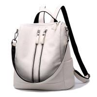 新款韩版百搭双肩包包潮女士大容量多功能软皮背包休闲单肩包