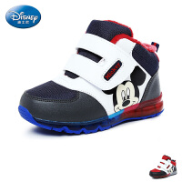 【99元任选2双】迪士尼Disney童鞋17冬季儿童运动鞋短绒暖和男童户外休闲鞋防滑耐磨米奇高帮鞋 (5-10岁可选)