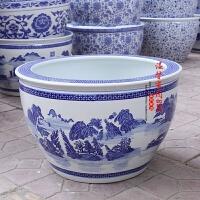 景德镇陶瓷鱼缸特大水族箱瓷器青花山水缸金鱼缸睡莲缸乌龟缸