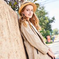 风衣女中长款香影2018春装新款时尚翻领修身显瘦纯色休闲外套长袖