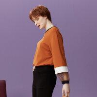 【2件2.5折到手价:42.3】美特斯邦威套头卫衣女拼接袖口上衣个性休闲针织衫秋装新品