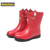 巴拉巴拉儿童靴子女童冬季鞋2018新款保暖中筒皮靴冬季鞋潮小童鞋