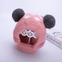 儿童帽子冬季1-4岁2宝宝毛线帽套脖保暖冬天男童针织帽女童护耳帽 粉色 七点套脖帽 均码