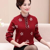 中年女打底衫长袖40-50岁新款妈妈毛衣女秋冬短款针织衫大码
