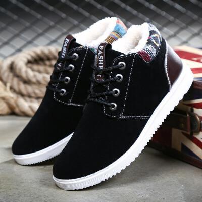 【包邮】2017冬季雪地靴高帮加绒保暖马丁靴子男套筒短皮靴冬季切尔西防水棉鞋71510JQ