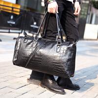 大容量男士旅行包 鳄鱼纹皮质韩版手提单肩包斜挎出差旅行背包潮 黑色 大