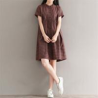孕妇装夏装文艺格子衬衫裙潮妈宽松中长款上衣短袖孕妇连衣裙夏季3901 咖啡色