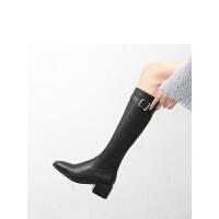2018新款女靴子高筒靴粗跟骑士靴中跟长筒单靴方头及膝马丁靴
