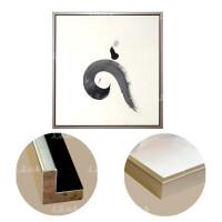中式水墨油画手绘抽象客厅背景挂画玄关走廊装饰画正方形 灰色 香槟银色画框 93*93 单幅