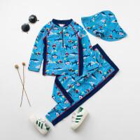 儿童泳衣男童宝宝分体可爱潜水员鲨鱼婴儿游泳套装小童冲浪服 HX-17108潜水员鲨鱼