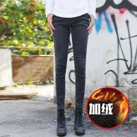 冬季裤子新款弹力紧身靴裤韩版潮生牛仔修身显瘦 加绒小脚长裤