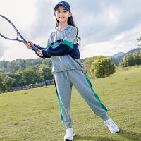 女童套装秋季薄款春秋女大童休闲时髦运动女孩两件套