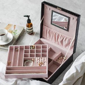 奇居良品 PU鳄鱼纹黑色饰品收纳盒 卡尔正方形首饰盒