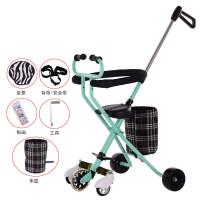 带娃遛娃溜娃神器婴儿童三轮车小孩手推车1-3-4-5-6岁轻便折叠 绿色 软座 暴君轮+刹车款