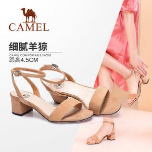 骆驼女鞋 2018夏季新款 通勤粗跟凉鞋简约舒适中跟鞋韩版百搭凉鞋