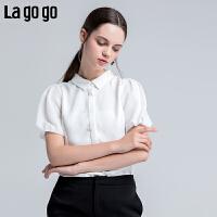 【5折价144】Lagogo/拉谷谷2018夏季新款时尚花苞短袖白色衬衫女HACC234H22