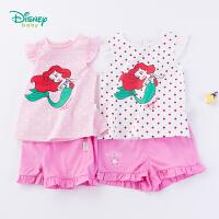 迪士尼Disney童装 女童美人鱼公主印花短袖套装2019夏季新品小飞袖上衣短裤192T864
