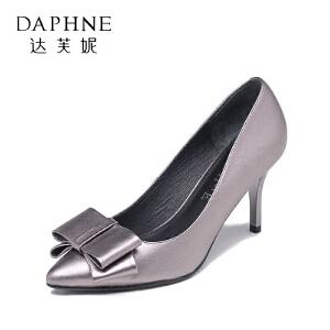 Daphne/达芙妮 秋季蝴蝶结头层牛皮细高跟浅口女单鞋