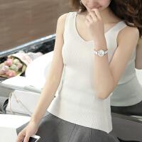 黑白色针织吊带背心女外穿韩版修身短款无袖工字小背心打底衫夏季 均码