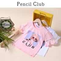 【2件4折:43.6】铅笔俱乐部童装2020夏装新款女童小香风短袖中大童T恤儿童半袖潮