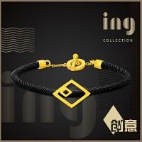 周大福 ing系列时尚几何菱形足金黄金手绳(工费:368计价)F207210
