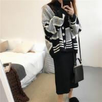 秋冬新款韩版chic加厚拼色毛衣外套+打底衫+半身裙套装女