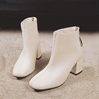 2018新款马丁靴女英伦风高跟短靴粗跟秋冬季鞋子ins学生短筒靴子