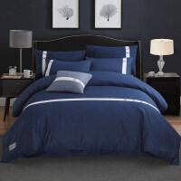 四件套纯棉全棉纯色简约床上用品2.0m双人床单被子被套被单