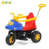 巴巴泥儿童电动摩托车男女宝宝三轮手推车1-3-6岁可坐音乐玩具车