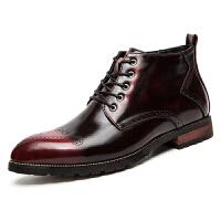 秋季休闲高帮皮鞋男英伦布洛克款式夜店发型师尖头韩版增高马丁靴