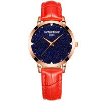 2018新款 瑞之缘轻薄瑞士日本机芯女士真皮带防水石英韩版非机械表手表 女士520 红色