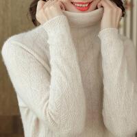新年优惠【NEW】2018秋冬新款高领纯山羊绒衫女套头短款毛衣堆堆领针织打底衫