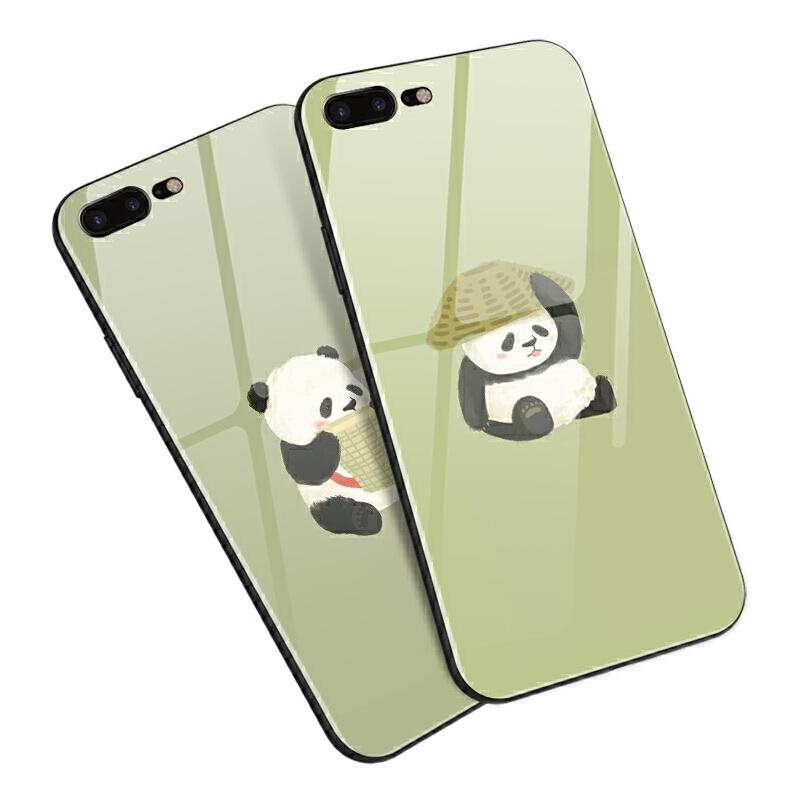 苹果iphone7 8p 6s plus 5s/se手机壳玻璃软卡通熊猫可爱中国风萌