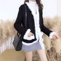 港味秋冬新款韩版小香风黑白拼色毛毛开衫羊圈呢子外套女