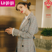 【清仓3折价269.7】Lagogo/拉谷谷2019年春季新款时尚翻领双排扣格子风衣