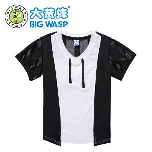 大黄蜂童装 男童短袖T恤2018夏季新款休闲学生棉圆领上衣
