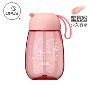 OPUS阿狸随手杯创意塑料水杯子儿童便携耐摔水壶可爱卡通带提绳插画系列