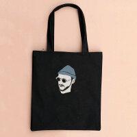 手工帆布包女包学生书包单肩手提包文艺帆布袋女购物袋 男杀手拉链-黑竖包