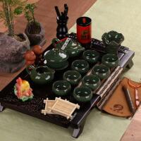 紫砂七彩冰裂釉茶盘陶瓷功夫茶具整套装茶杯茶壶实木茶盘茶组套装家用 22件