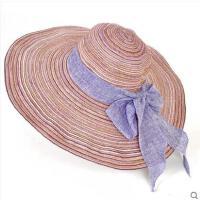 甜美旅行帽大檐蝴蝶结沙滩草帽女韩版出游海边度假大沿可折叠防晒遮阳帽子