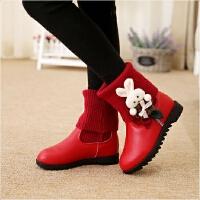 儿童棉靴女童靴子短靴女童棉鞋2019秋冬女童鞋儿童加绒