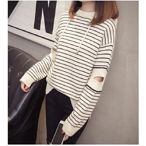秋装新款女韩版学生宽松条纹长袖短款连帽毛衣女套头针织打底衫潮